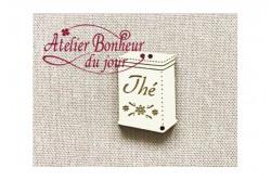 """bouton bois """"Boite à thé ivoire"""""""