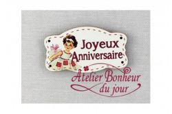"""Bouton en bois """"Joyeux anniversaire"""""""