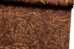Tissu Patchwork Macchiato marron très foncé avec motifs de feuilles...