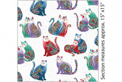 "Tissu patch de Benartex Cat-i-tude ""Poses chats multico sur fond blanc"""