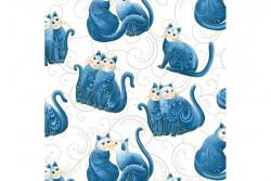 """Tissu patch de Benartex Cat-i-tude """"Chats bleus sur fond blanc"""""""
