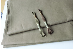 Tissu pour broderie traditionnelle 100% lin taupe