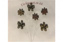 """6 Boutons en bois """"fleurs en été"""""""