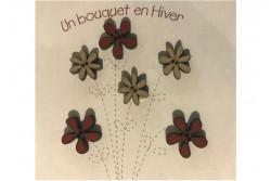 """6 Boutons en bois """"fleurs en hiver"""""""