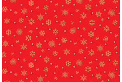 "Tissu Makower ""Metallic Snowflakes Red"""