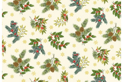 "Tissu Makower ""Foliage Scatter Cream"""