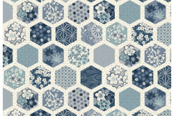 "Tissu Makower ""Indigo"" Hexagone cream"