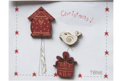 "Boutons  ""Nichoir, oiseau, cadeau Noël"""