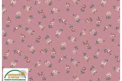 """Tissu Patch Stof vintage Roses """" petites fleurs sur fond vieux rose"""""""