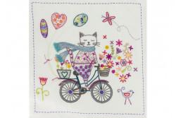 """Kit de broderie traditionnelle """"La vie est belle à bicyclette"""""""