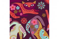 "Tissu patch ""Stitch Cats"" chats rigolos sur fond aubergine"