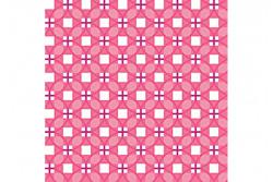 """Tissu patch """"Stitch Cats"""" petits carrés sur fond rose"""
