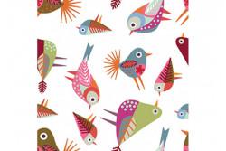"""Tissu patch """"Stitch Cats"""" petits oiseaux multicolores sur fond blanc"""