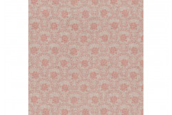 Tissu Stof Shabby Chic Médaillons de rose crevette ur fond lin