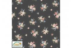 """Tissu Patch Stof Ellie Roses"""" Bouquets de fleurs sur fond noir points..."""
