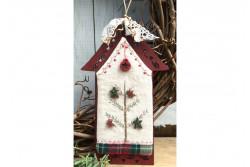 """Mini-kit de broderie """"Maison de Nöel rouge"""" sur cadre en bois"""