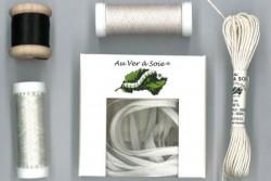 """Pack découverte Au Ver A Soie ,""""Soie Surfine / Ruban de soie"""" Blanc-Noir"""