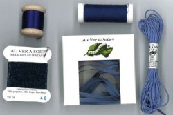 """Pack découverte Au Ver A Soie ,""""Soie Surfine / Ruban de soie"""" Bleu-violet"""