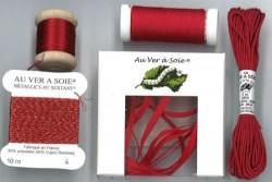 """Pack découverte Au Ver A Soie ,""""Soie Surfine / Ruban de soie"""" rouge"""