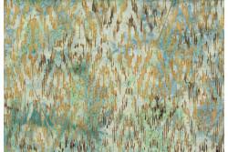 """tissu Bali Handpaints """"Vert d'eau, marron, doré"""""""