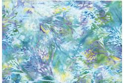 """tissu Bali Handpaints """"arbres, Mauve, turquoise, vert d'eau, citron"""""""