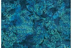 "tissu Bali Handpaints ""arbres, Bleu marine, Bleu turquoise"""