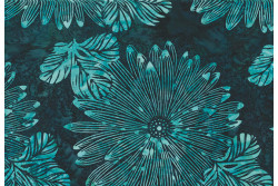 "tissu Bali Handpaints ""Grandes fleurs, Bleu marine, Bleu turquoise"""