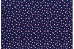 "Tissu Patch Stof Amy Roses "" petites roses sur fond bleu marine"""