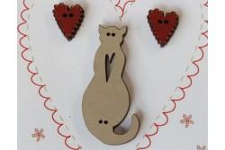 """Boutons en bois """" chat et cœurs rouges"""""""