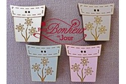 """Bouton en bois laqué """"pot de fleurs"""""""