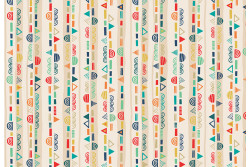 "Tissu Makower ""Folk Friends Stripe"" Crème"