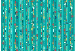 """Tissu Makower """"Folk Friends Stripe"""" Turquoise"""