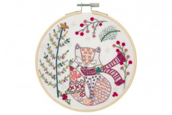 "Kit de broderie traditionnelle ""Madame Renard attend Noël"""