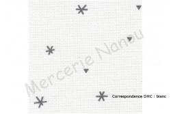 Toile Aïda de Zweigart 8 pts/cm, coloris 1369 sparkle blanc/étoiles