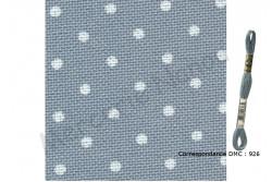 Etamine unifil MURANO de Zweigart, coloris 5269 bleu gris pois blanc