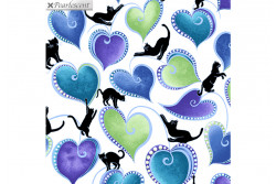 """Tissu patch de Benartex Cat-i-tude """"Hearts and Cats White multi"""""""
