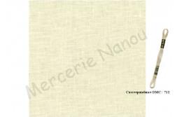 Toile de lin BERGEN de Zweigart, 18 fils/cm, coloris 222 crème