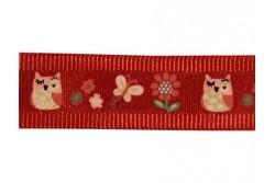 Galon satiné rouge motifs chouettes et fleurs