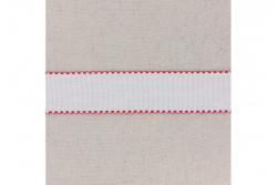 Bande à broder en Aida 5.5, blanc, bords festonnés rouge, 3 cm