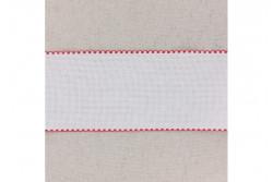 Bande à broder en Aida 5.5, blanc, bords festonnés rouge, 10 cm