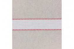 Bande à broder en Aida 5.5, blanc, bords festonnés rouge, 5 cm
