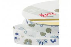"""Biais pré-plié 18mm à motifs """"fleurs bleues"""""""