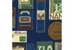 "Tissu Yuwa ""Shirting"" étiquettes de voyage sur fond bleu France"