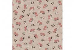 "Tissu Stof ""Shabby Chic"" Petites roses rose crevette sur fond lin clair"