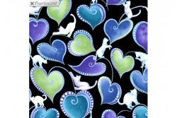 """Tissu patch de Benartex Cat-i-tude """"Hearts and Cats Black multi"""""""