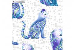 """Tissu patch de Benartex Cat-i-tude """" Aristo-Cats White Multi"""""""