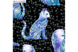 "Tissu patch de Benartex Cat-i-tude "" Aristo-Cats Black Multi"""