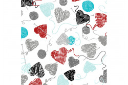 """Tissu de Bénartex All you Knit is love """"white yarn balls and hearts"""""""