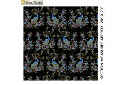 """Tissu patch de Benartex Peacock Flourish """"Black multi double exposure"""""""