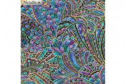 """Tissu patch de Benartex Peacock Flourish """"multi opulence"""""""